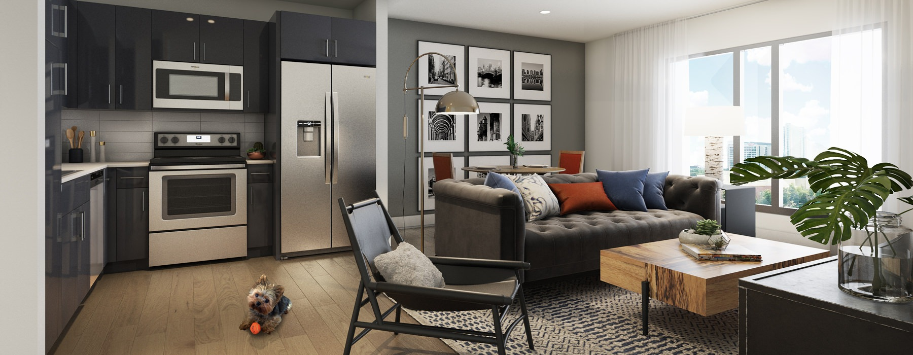 Living space is next to kitchen with a large window